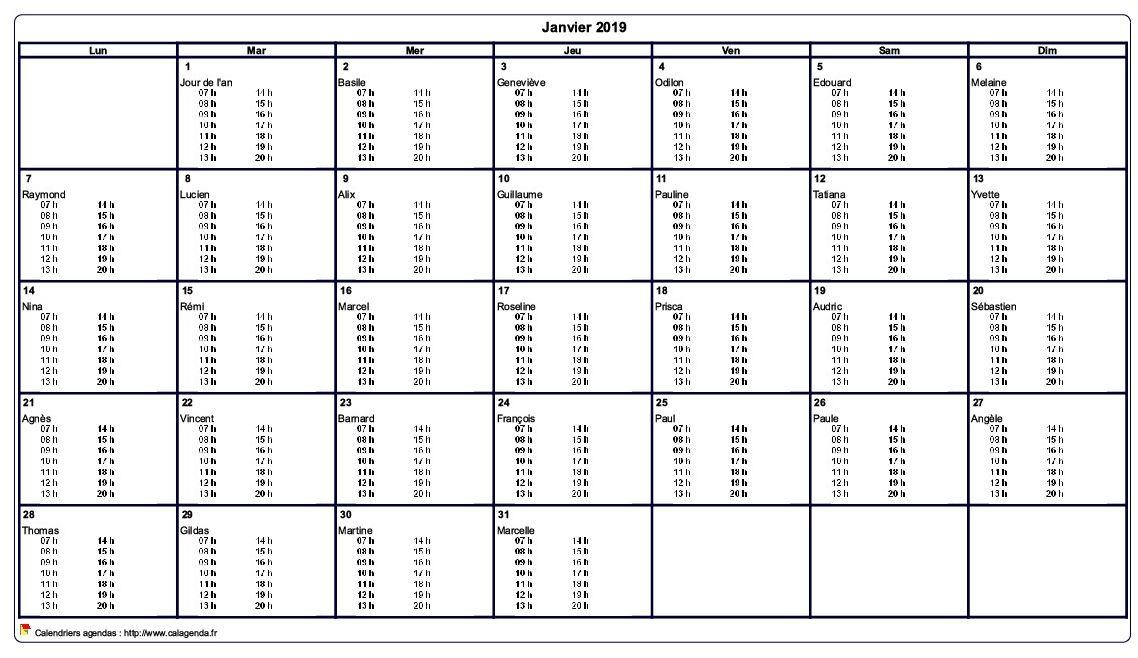 Calendrier mensuel 2019 à imprimer vierge, avec les horaires dans chaque case