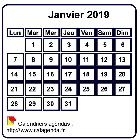 Calendrier A Imprimer Janvier 2019.Calendrier Mensuel 2019 A Imprimer Fond Blanc Taille Mini