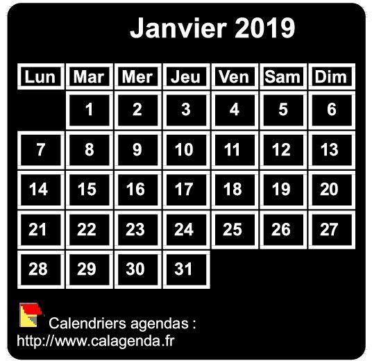 Calendrier mensuel 2019 à imprimer, fond noir, taille mini, format poche, spécial portefeuille