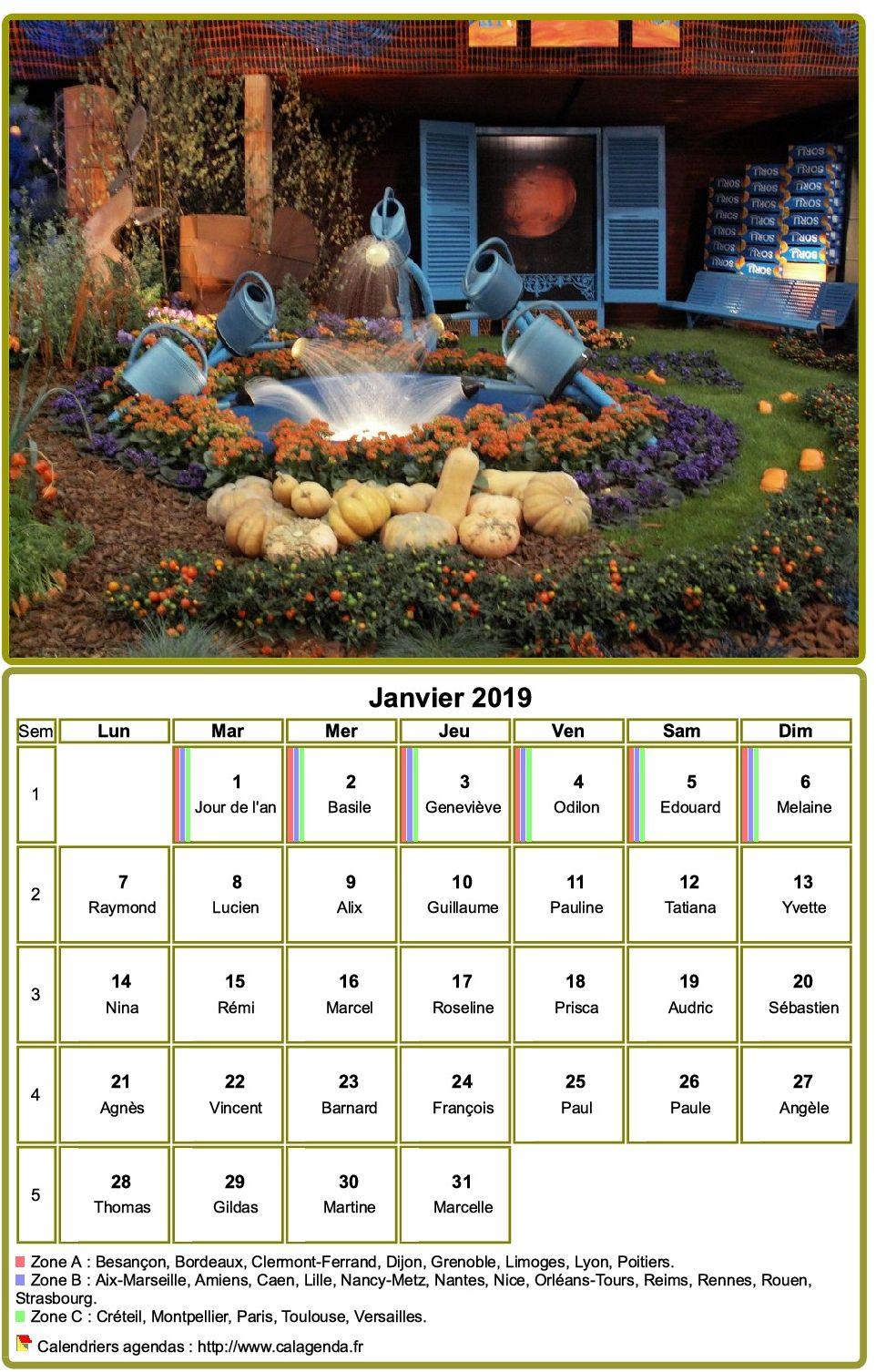 Calendrier 2019 à imprimer, mensuel, avec photographie au dessus