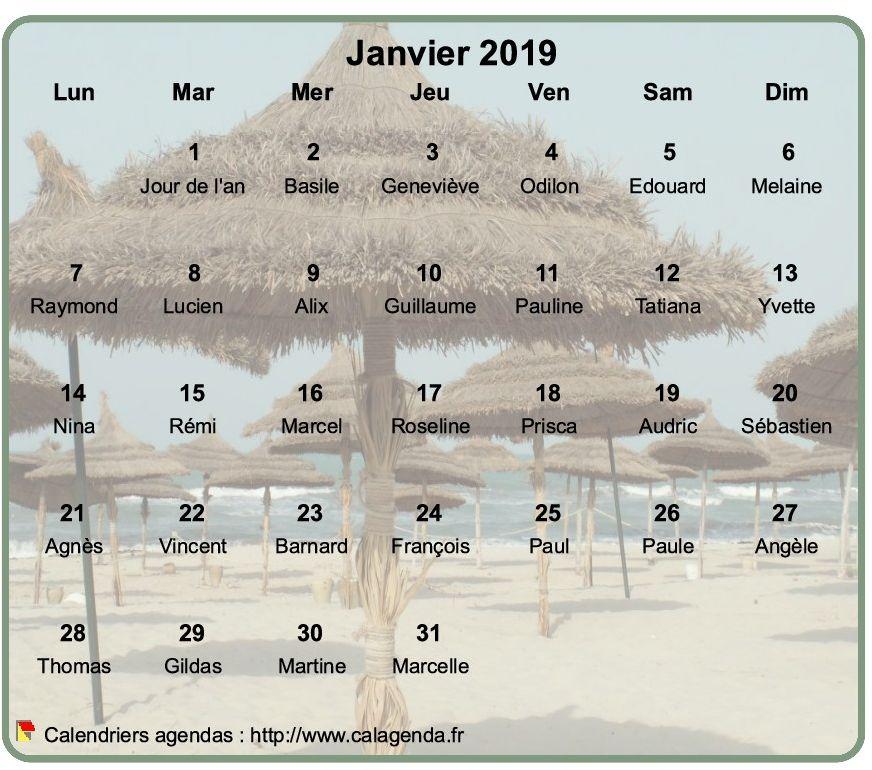 Calendrier mensuel 2019 à imprimer, en transparence sur une photo