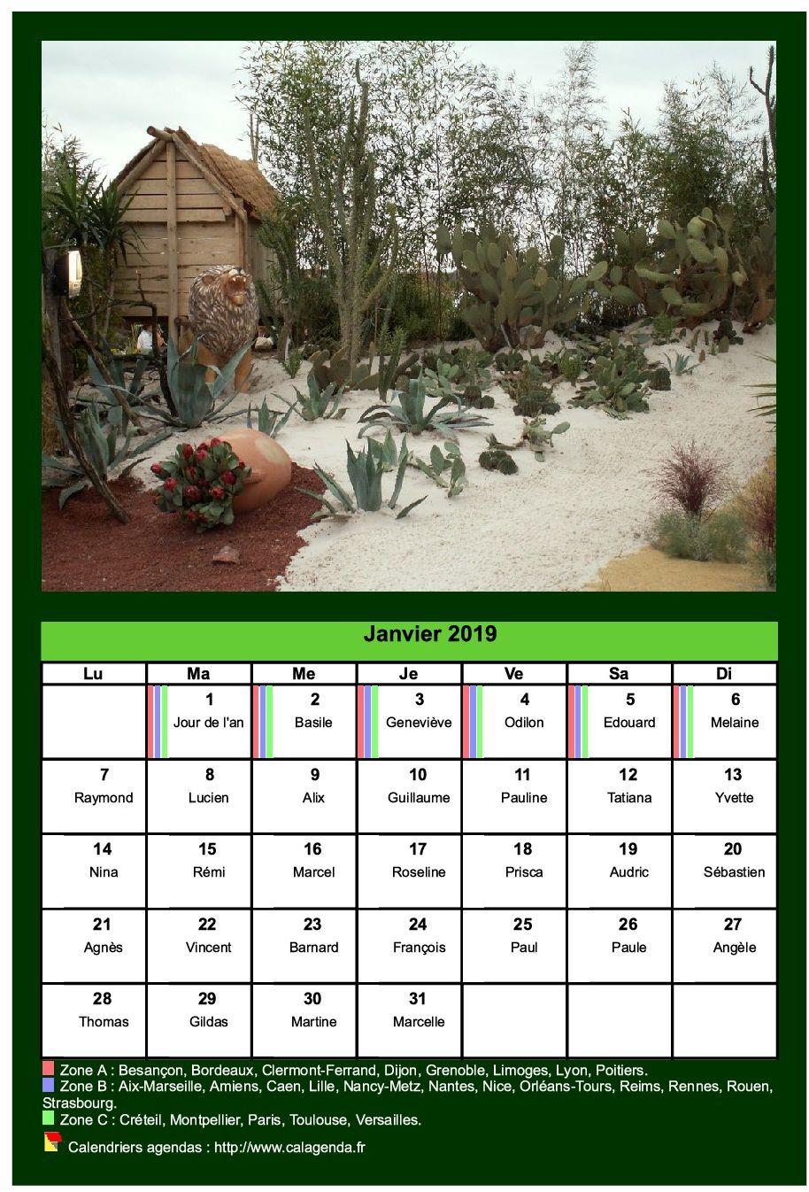 Calendrier mensuel 2019 avec une photo différente chaque mois
