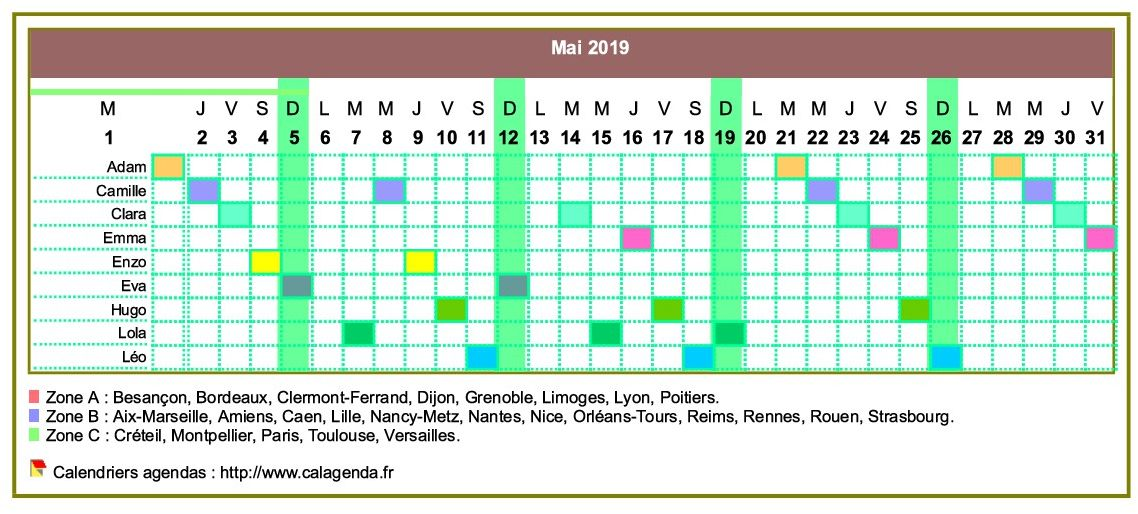 Calendrier 2019 planning horizontal mensuel