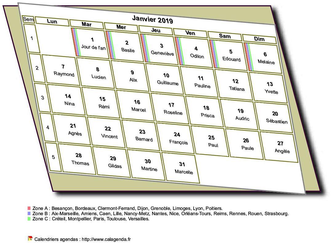 Calendrier mensuel 2019 à imprimer, style 3D