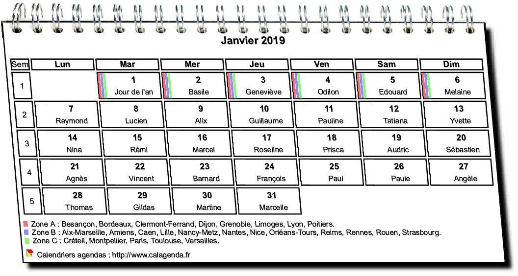 Calendrier mensuel 2019 à spirales