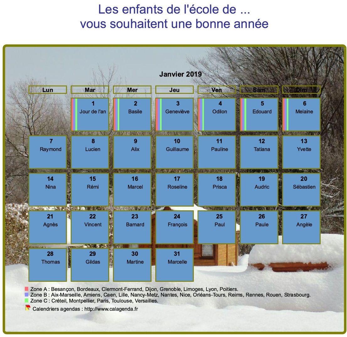 Calendrier 2019 agenda mensuel artistique avec photo et légende, paysage hivernal