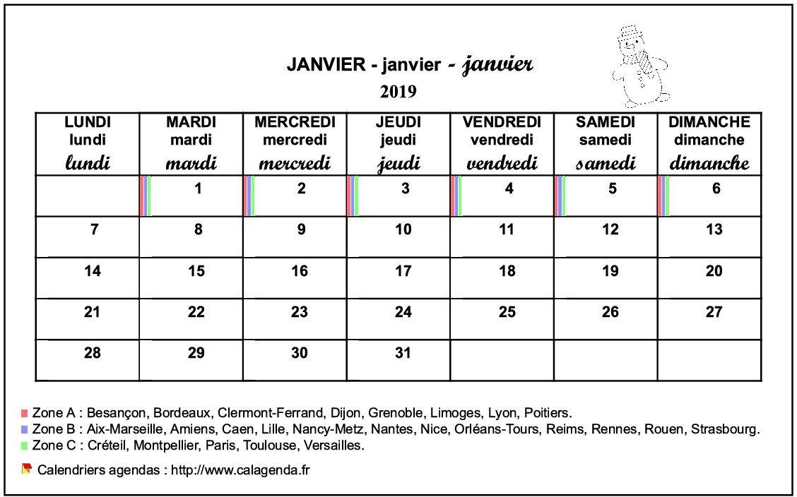 Calendrier mensuel 2019 école primaire et maternelle