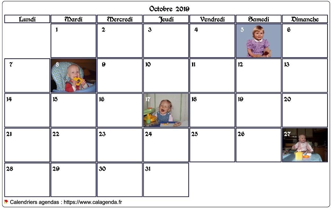 Calendrier mensuel 2019 avec photos d'anniversaires dans les cases