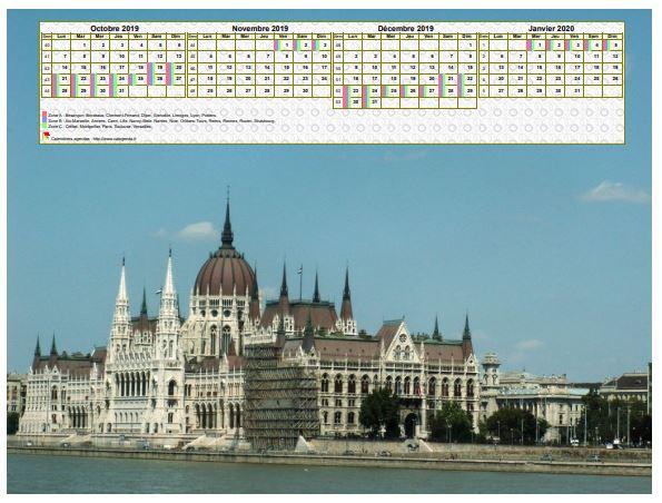 Calendrier à imprimer de quatre mois, format paysage, au dessus de la partie supérieure d'une photo