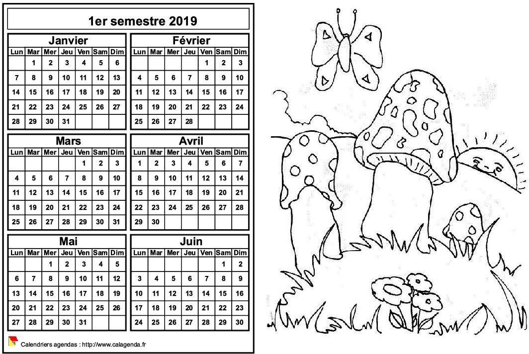 Calendrier 2019 à colorier semestriel, format paysage, pour enfants