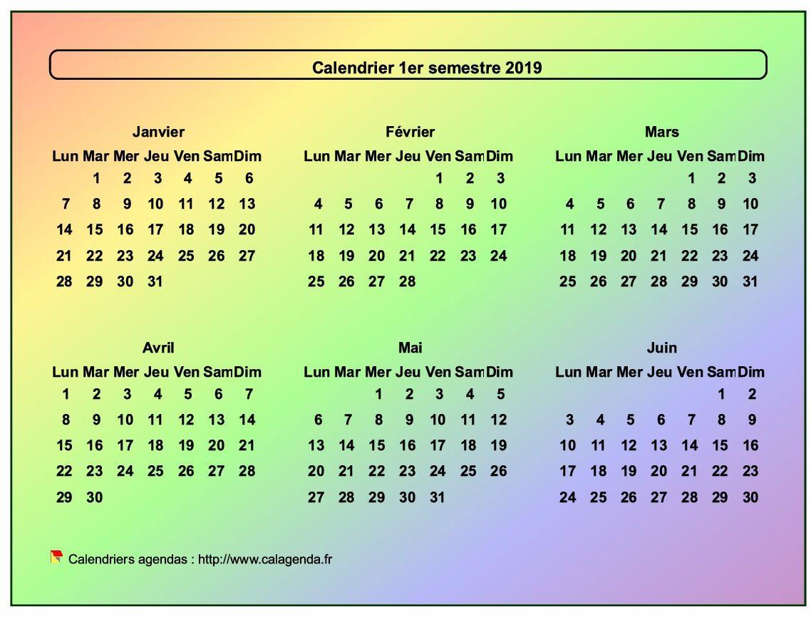 Calendrier 2019 semestriel style arc en ciel
