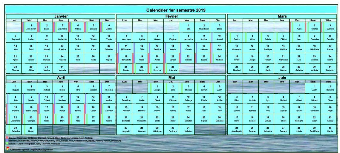 Calendrier 2019 à imprimer semestriel, format portrait, avec photo en fond de calendrier