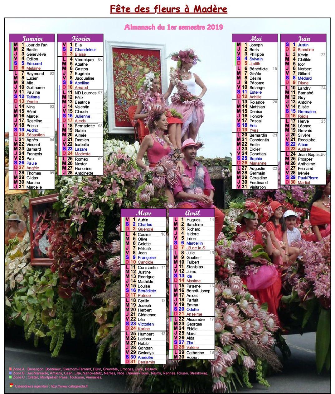 Calendrier 2019 semestriel fête des fleurs à Madère