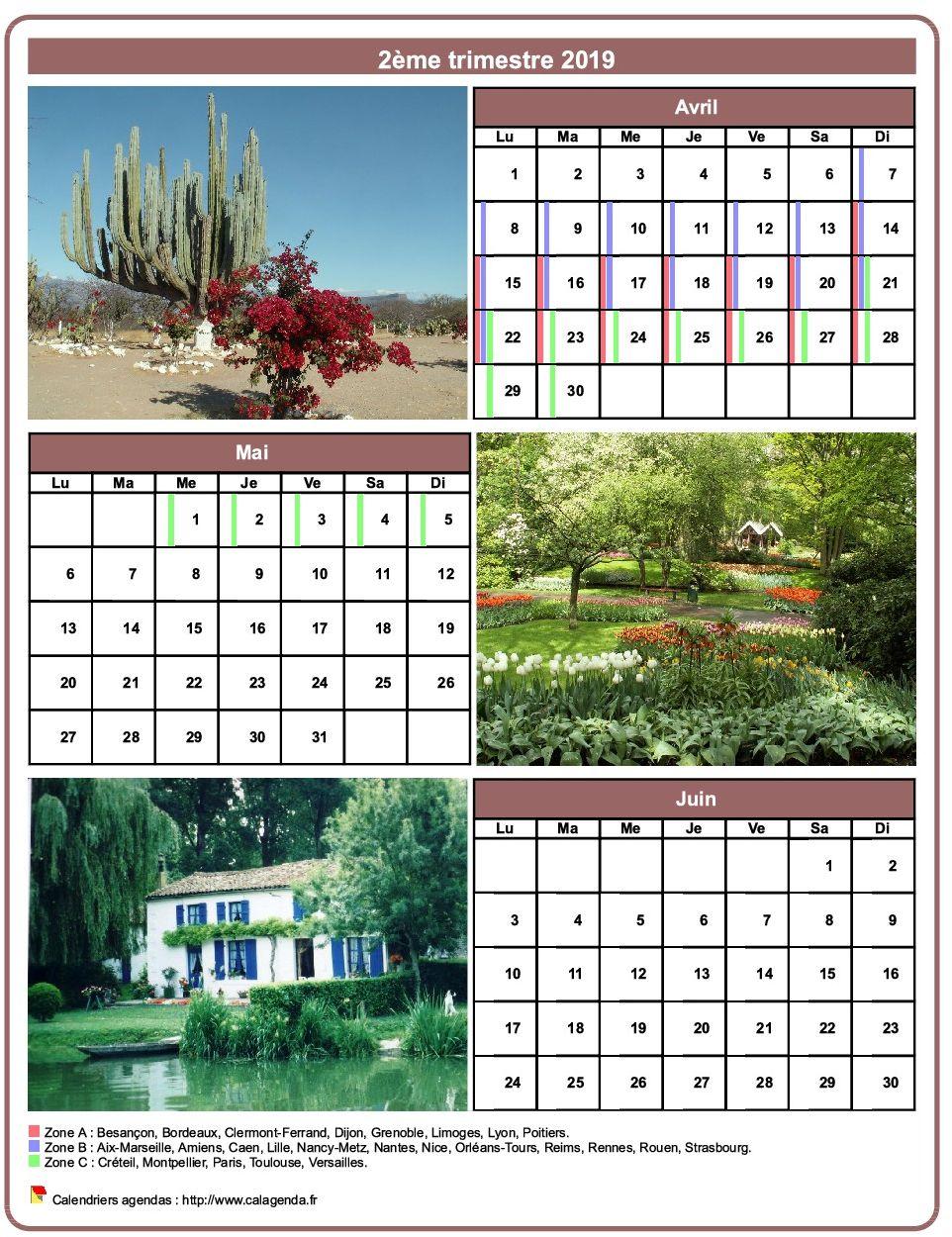 Calendrier 2019 trimestriel avec une photo différente chaque mois