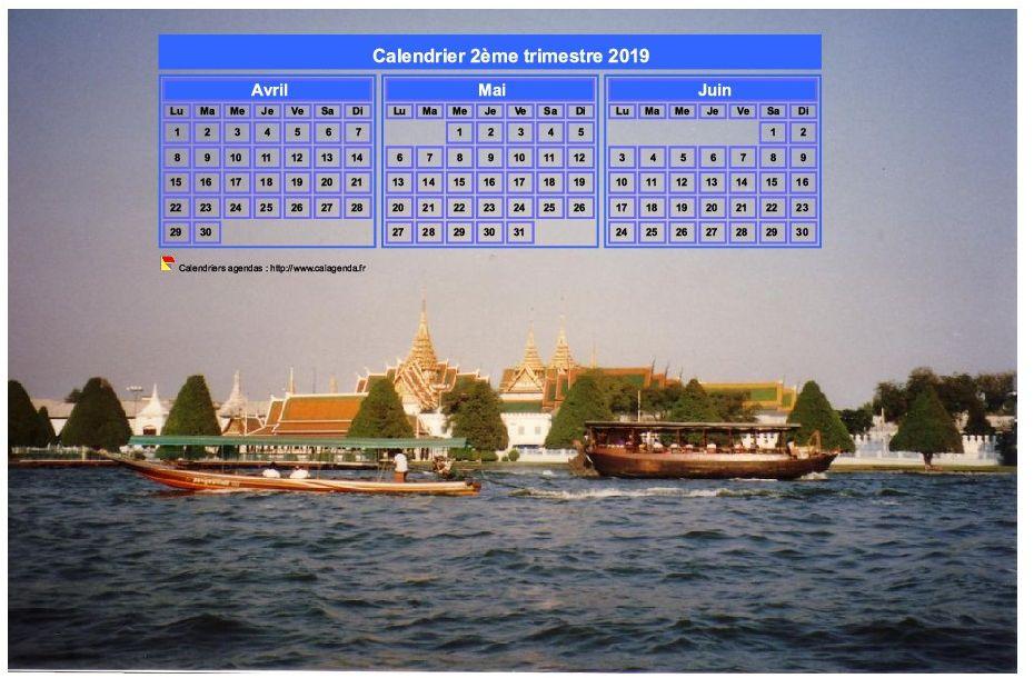 Calendrier 2019 à imprimer trimestriel, format paysage, incrusté sur la partie supérieure d'une photo