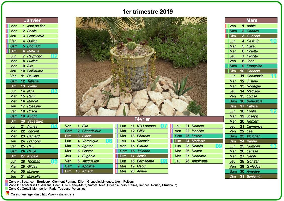 Calendrier 2019 trimestriel de style postes