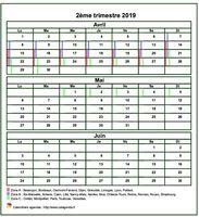 Calendrier 2019 Format Excel.Calendrier 2019 Trimestriel Gratuit Et Personnalisable