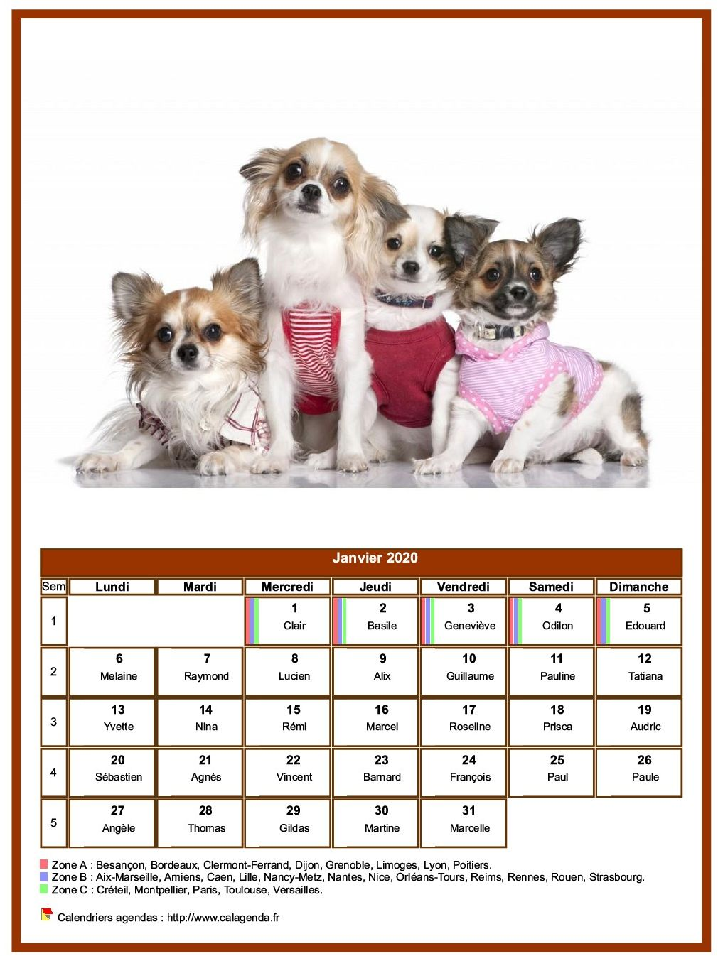 Calendrier janvier 2020 chiens