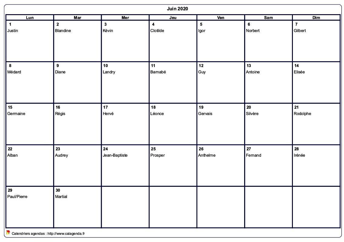 Calendrier juin 2020 à imprimer vierge, avec les fêtes