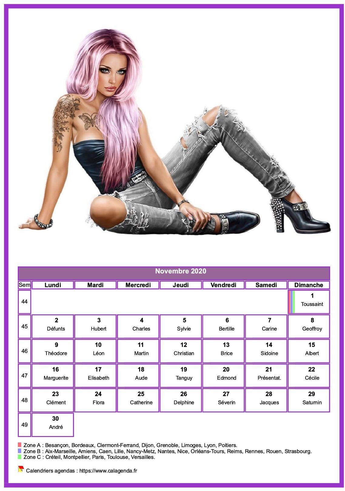 Calendrier Novembre 2020.Calendrier Novembre 2020 Femmes