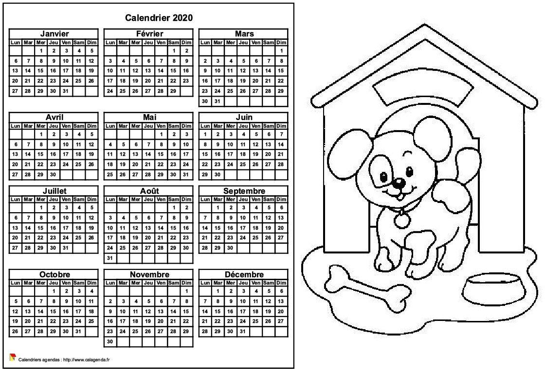 Calendrier 2020 à colorier annuel, format paysage, pour enfants