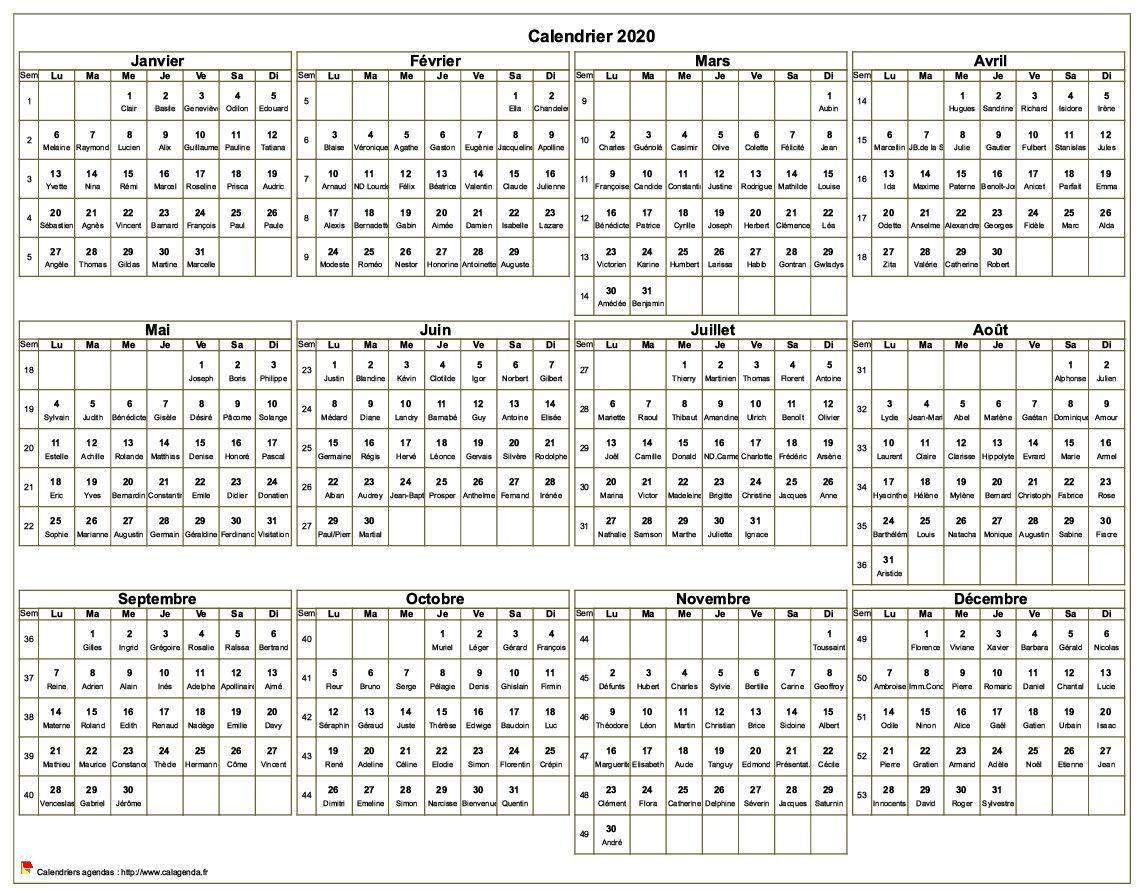 Imprimer Calendrier 2020 Gratuit.Calendrier 2020 A Imprimer Annuel Avec Les Fetes Format