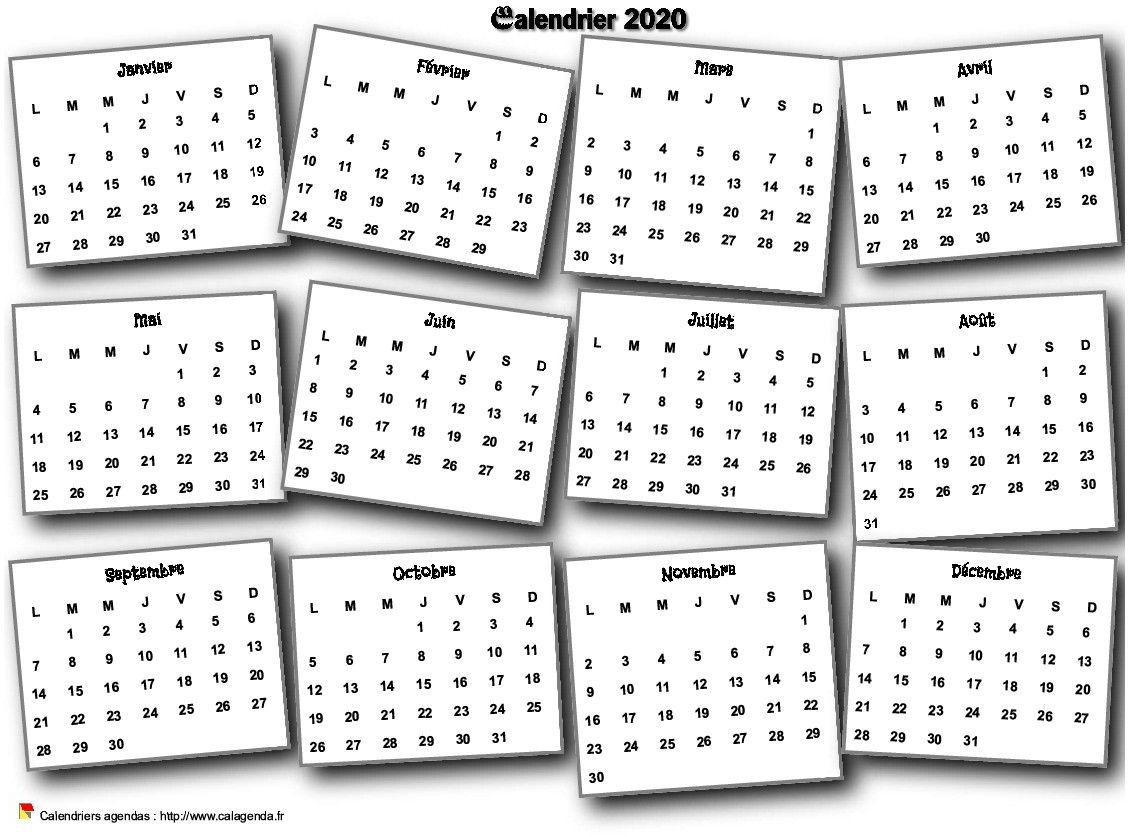 Calendrier 2020 annuel 3D pêle mêle