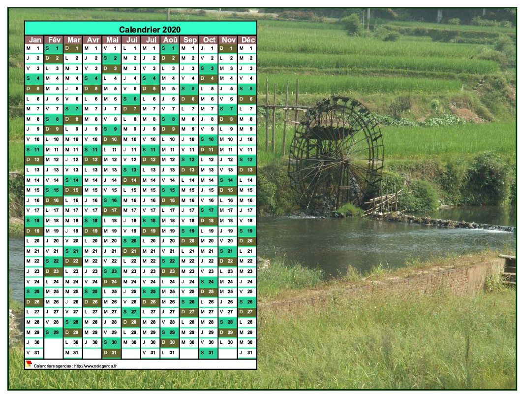 Calendrier 2020 annuel à imprimer, une colonne par mois, format paysage, placé sur une photographie