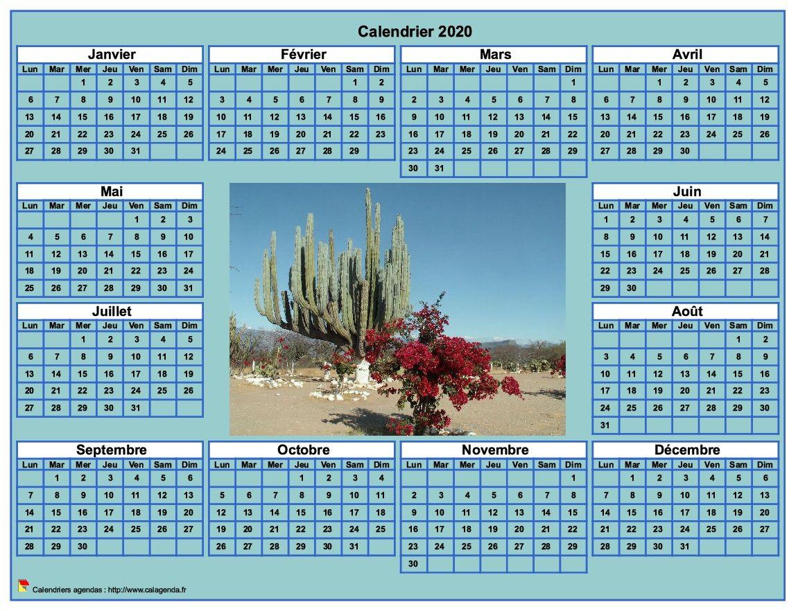 Calendrier 2020 photo annuel à imprimer, fond cyan, format paysage, sous-main ou mural