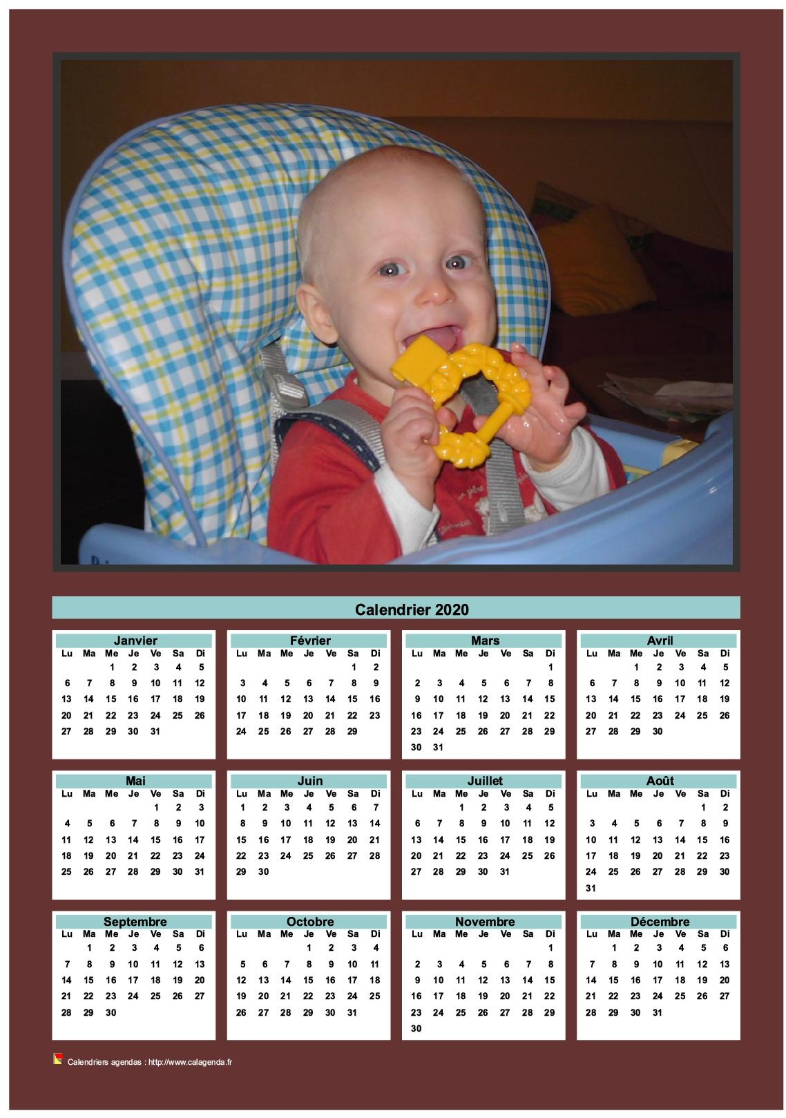 Calendrier 2020 annuel à imprimer avec photo de famille