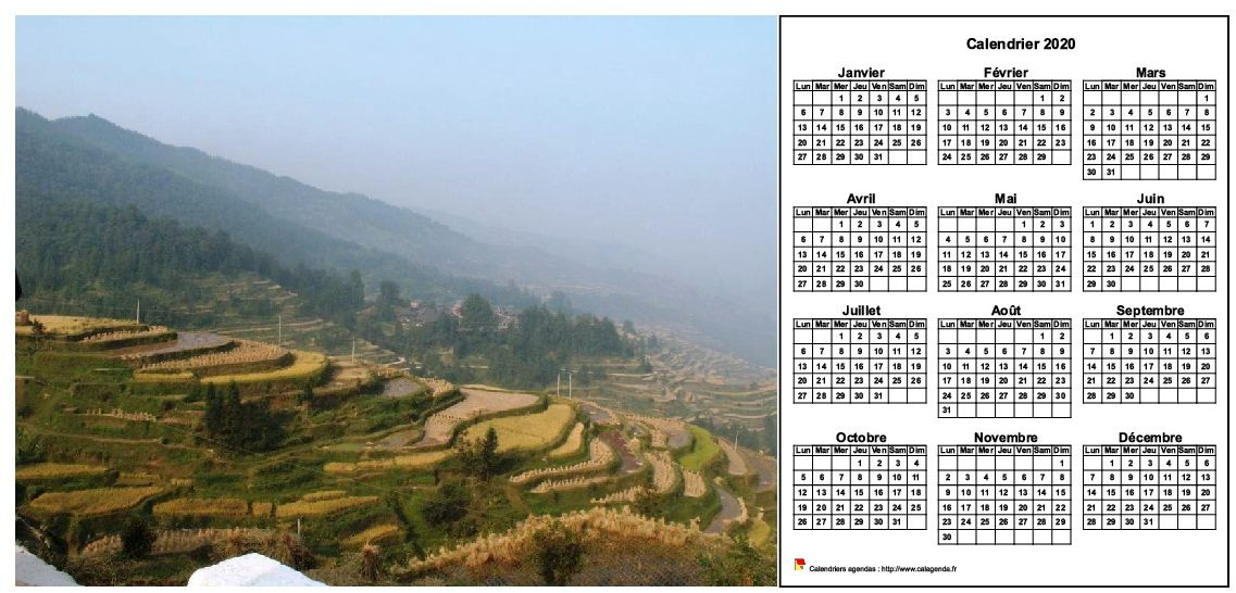 Calendrier 2020 annuel à imprimer, format paysage, une ligne par trimestre, à droite d'une photo
