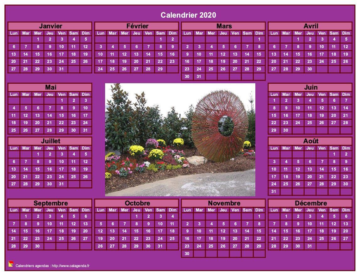 Calendrier 2020 photo annuel à imprimer, fond rose, format paysage, sous-main ou mural