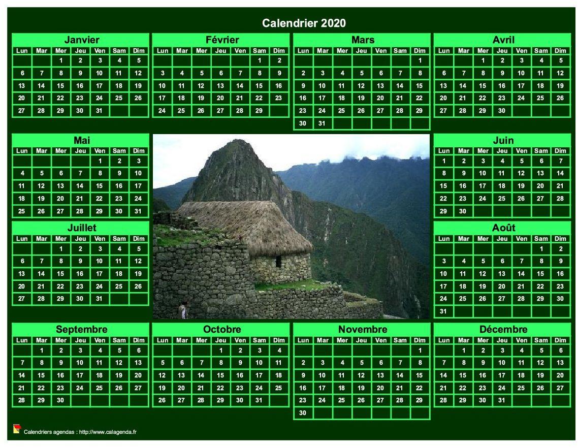 Calendrier 2020 photo annuel à imprimer, fond vert, format paysage