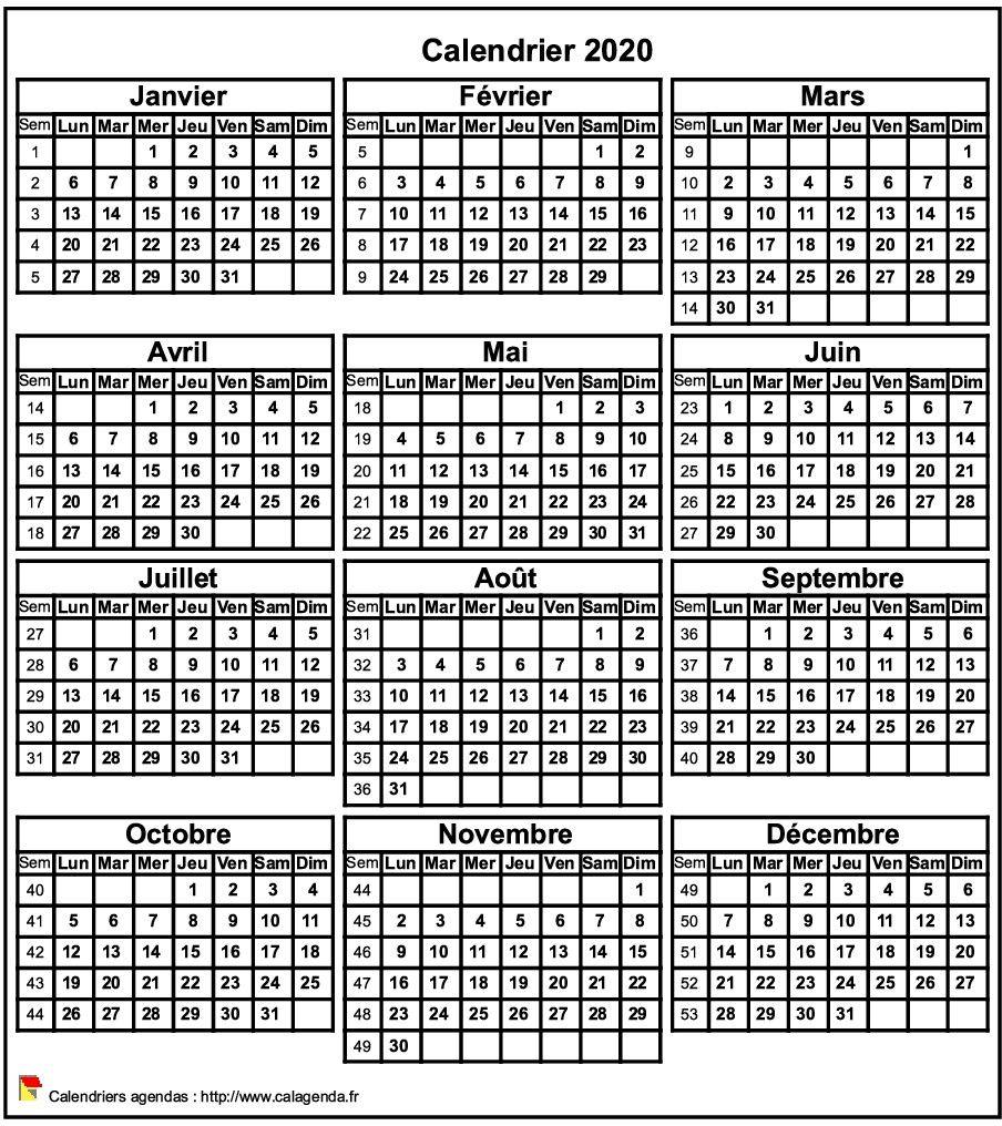 Calendrier 2020 Deuxieme Semestre.Calendrier 2020 Format Portrait