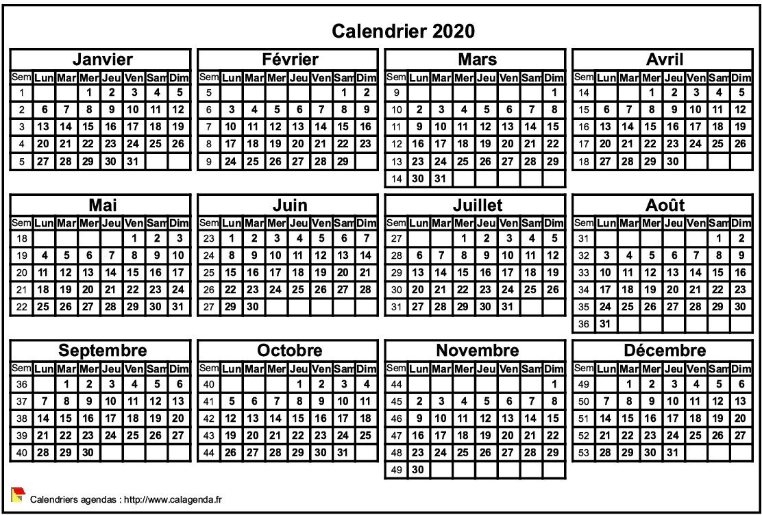 Calendrier 2020 format paysage