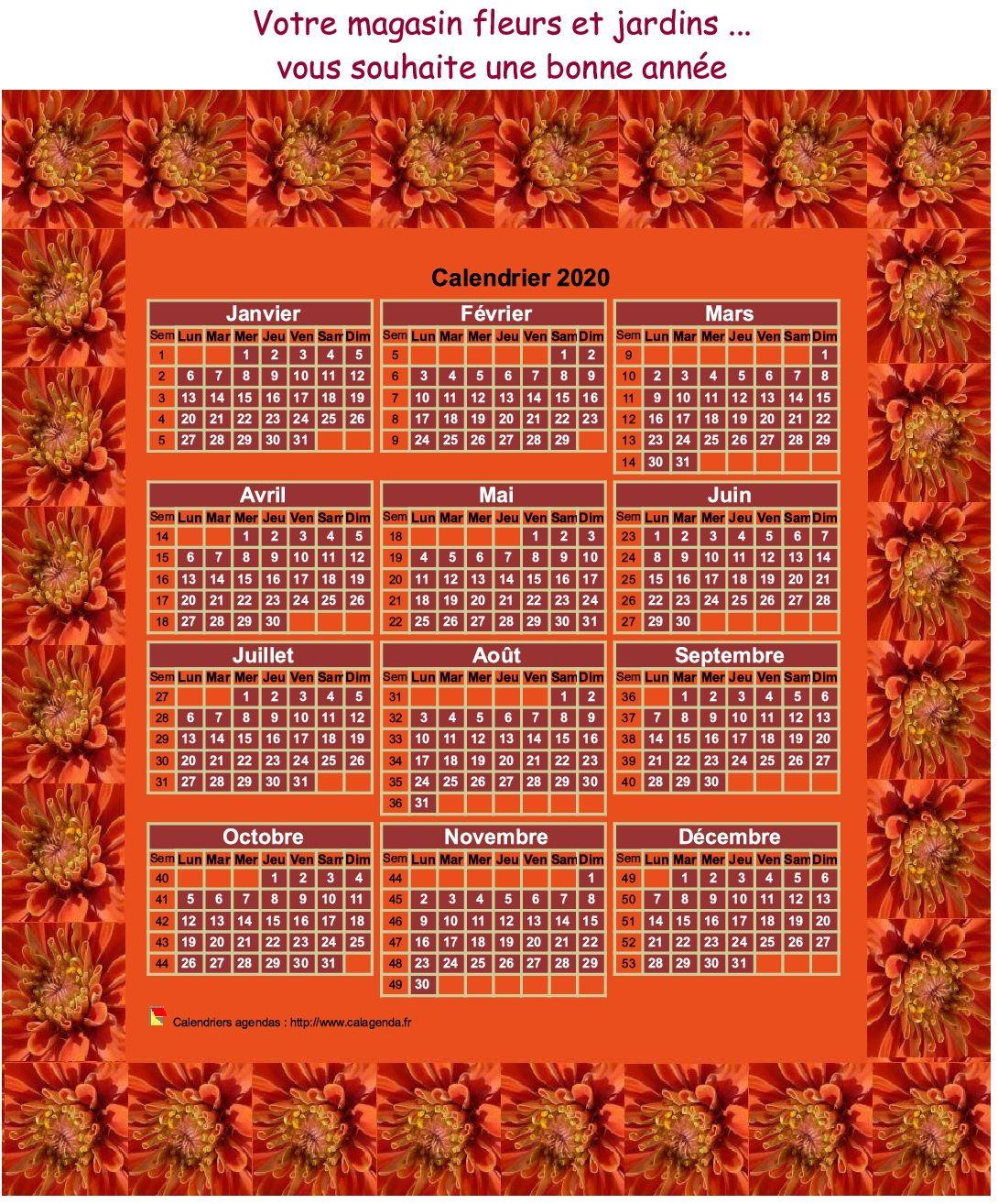 Calendrier 2020 annuel à imprimer, 3 colonnes, 4 lignes