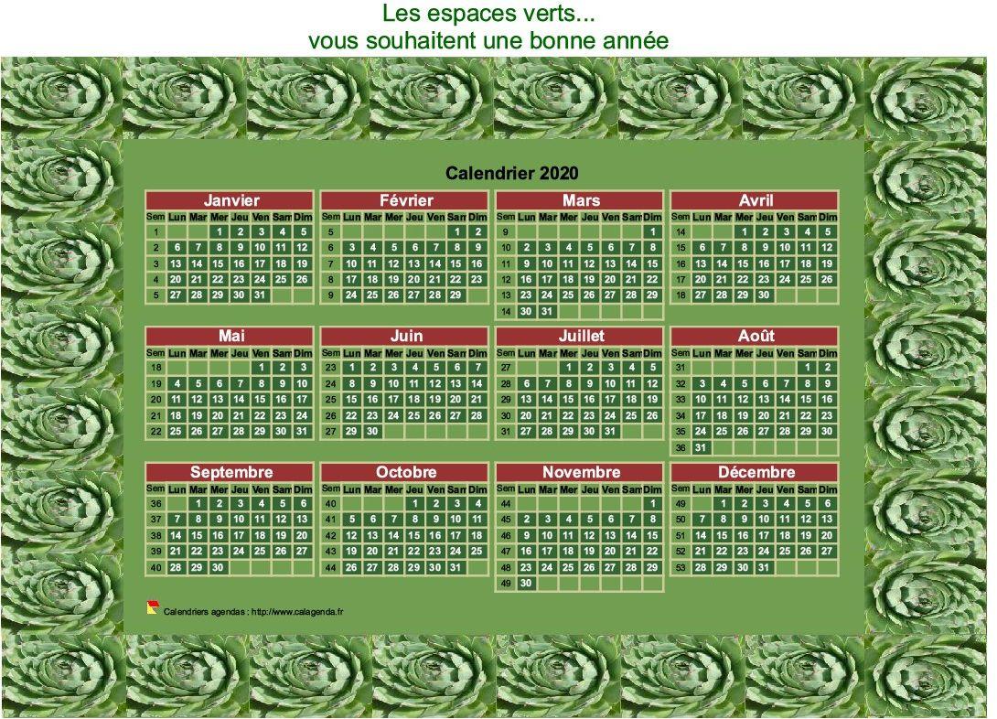 Calendrier 2020 décoratif annuel à imprimer, avec cadre photo vert