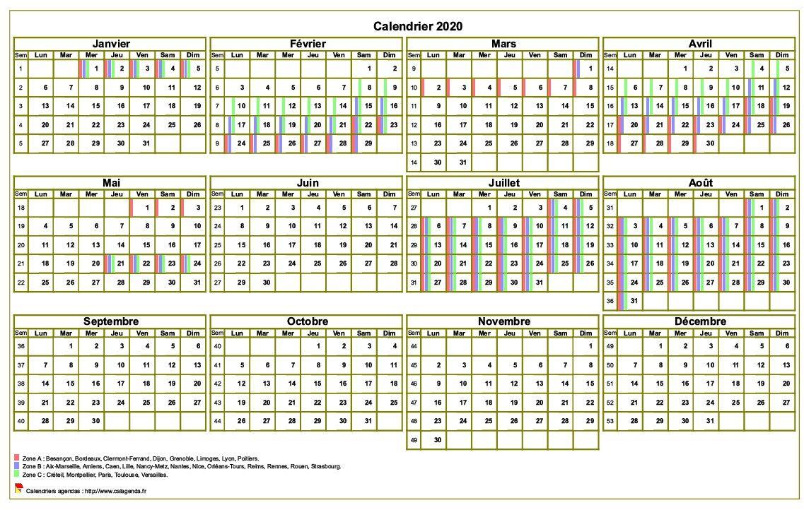 Calendrier 2020 annuel à imprimer, avec les vacances scolaires, format paysage