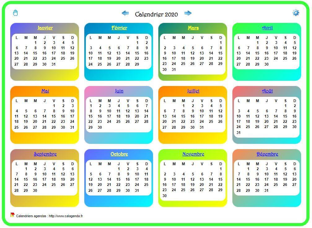 Calendrier 2020 annuel avec plusieurs dégradés de couleur