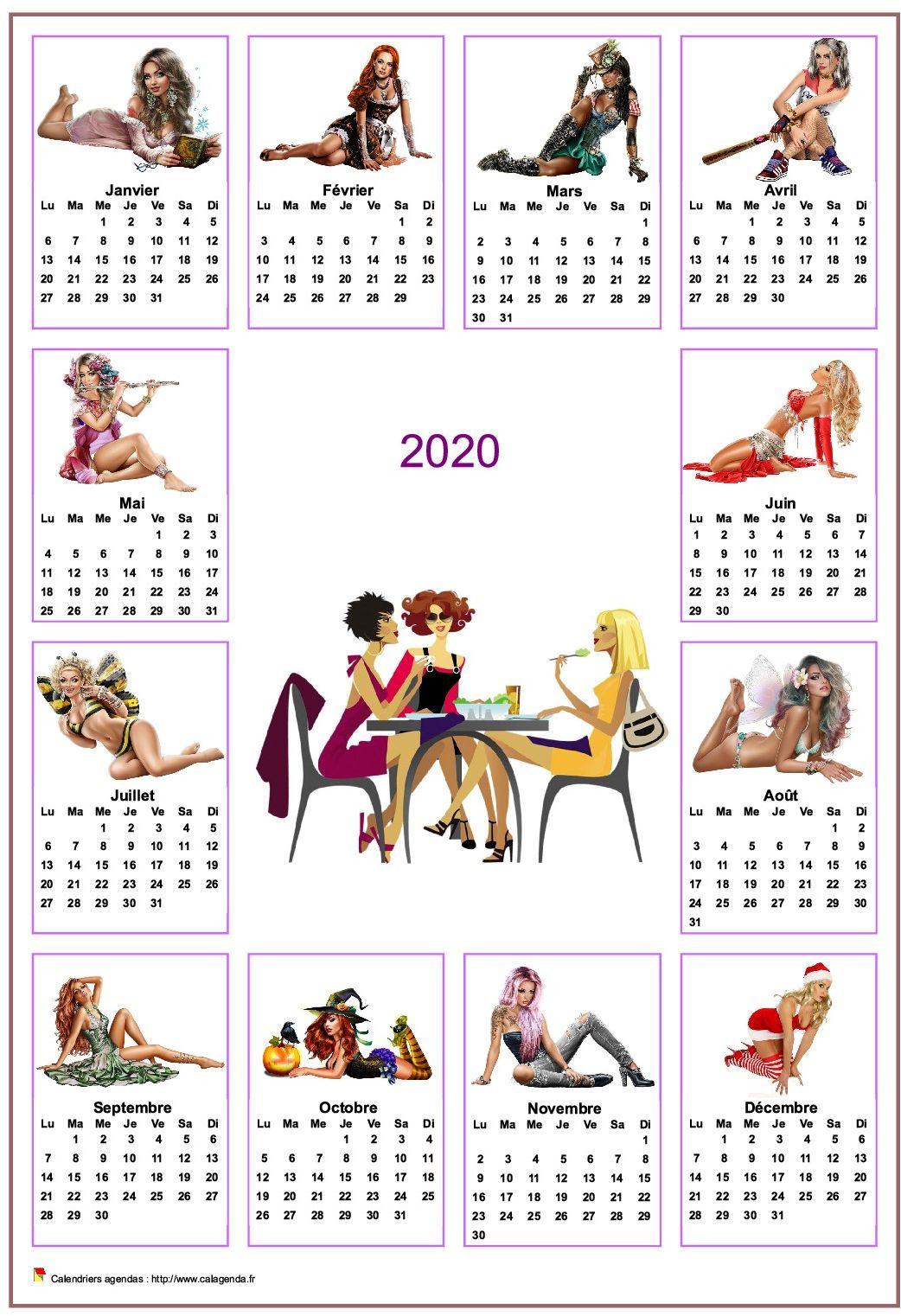 Calendrier 2020 annuel tubes femmes