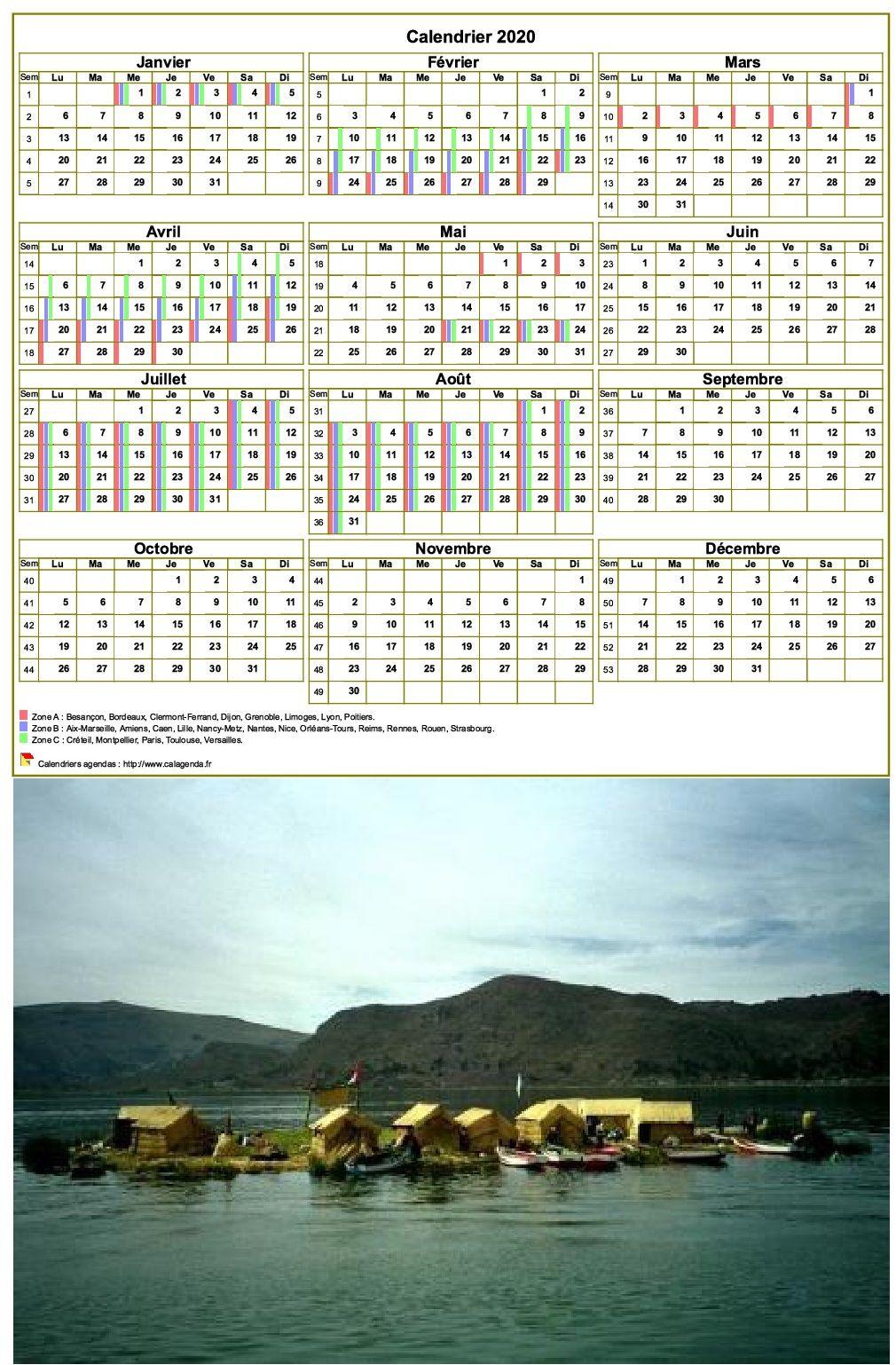 Calendrier 2020 annuel, 3 colonnes, une ligne par trimestre (format portrait avec photo)