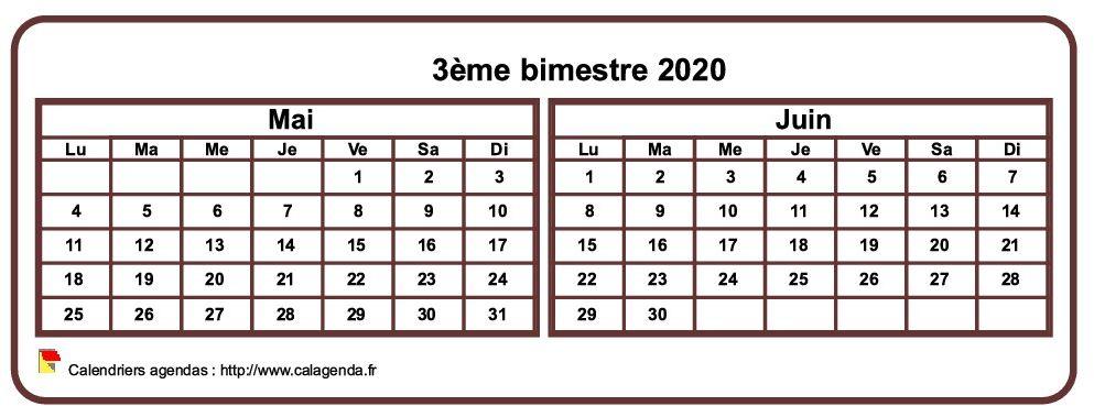 Calendrier 2020 à imprimer bimestriel, format mini de poche, horizontal, fond blanc
