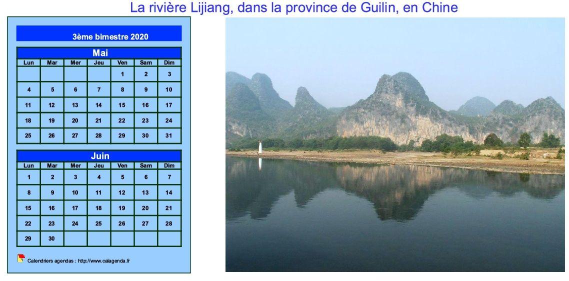 Calendrier 2020 décoratif à imprimer, bimestriel, format paysage, avec photo à droite