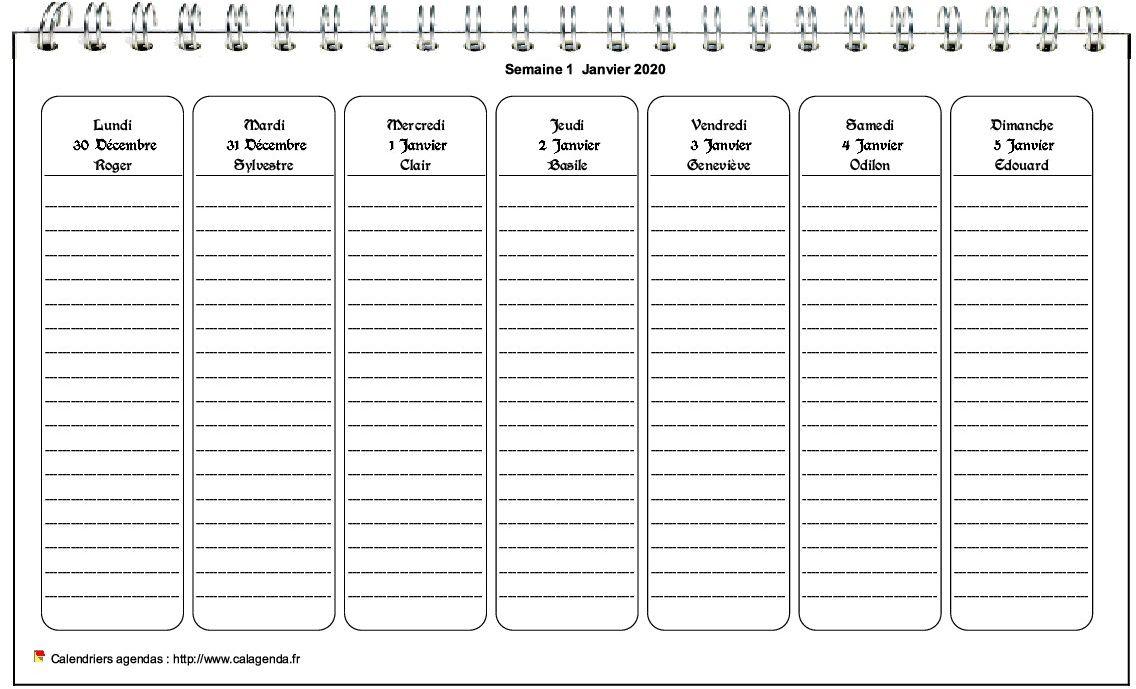Calendrier Hebdomadaire 2021 Calendrier hebdomadaire à imprimer de format paysage