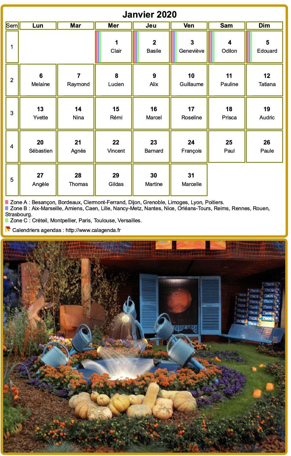 Calendrier mensuel 2020 à imprimer, avec photographie au dessous