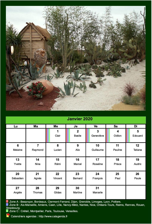 Calendrier mensuel 2020 avec une photo différente chaque mois
