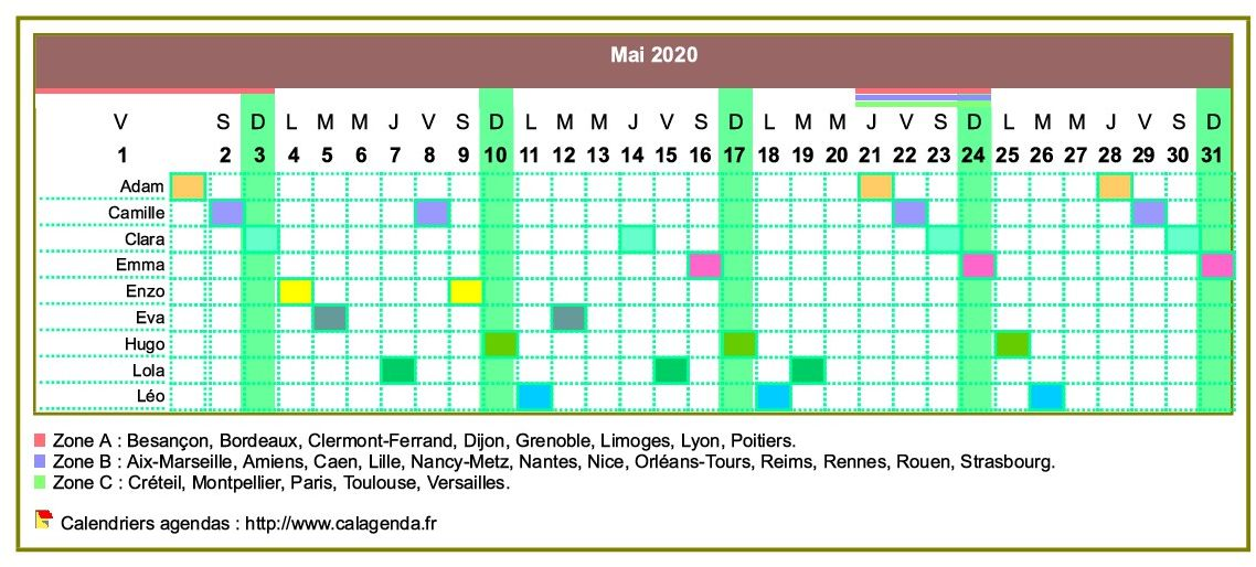 Calendrier 2020 2019 Zone C.Calendrier 2020 Planning Horizontal Mensuel
