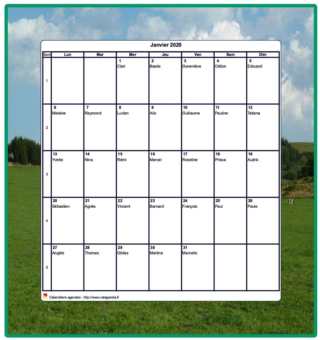 Calendrier 1er Trimestre 2020.Calendrier 2020 Decoratif A Imprimer Mensuel Format