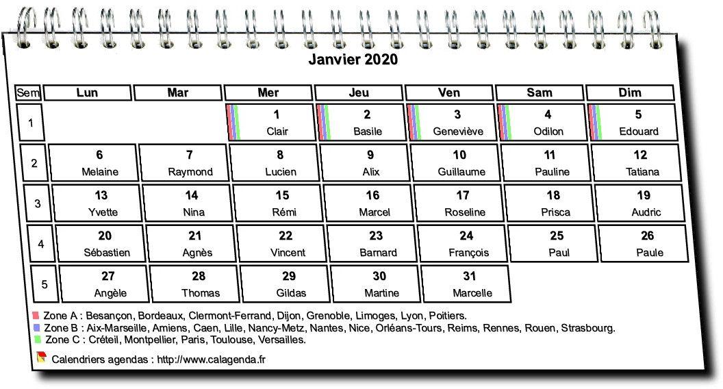 Calendrier mensuel 2020 à spirales