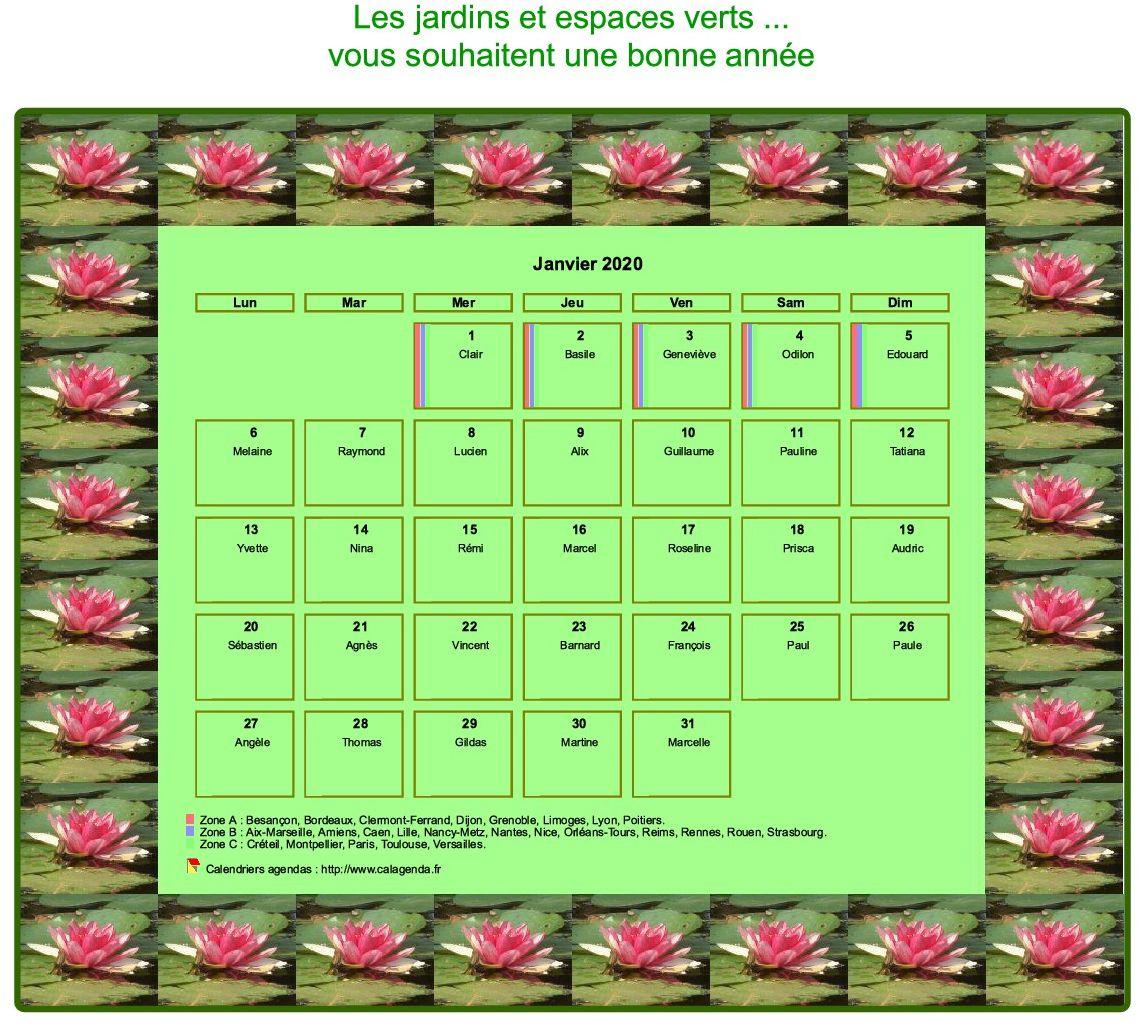 Calendrier agenda décoratif mensuel, cadre avec motifs nénuphars